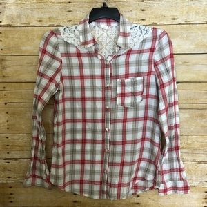 Wild Pearl Red Plaid Lace Back Button Up Shirt
